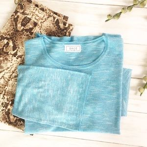 Sage The Label Aqua Blue Bell Sleeve Knit Top - S